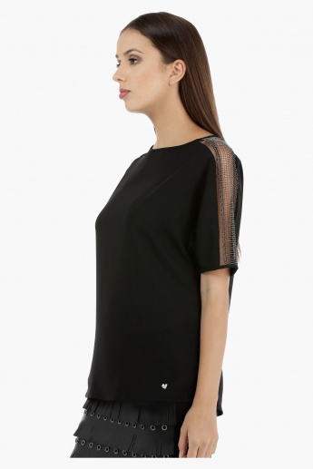 Elle Embellished Short Sleeves Box Top