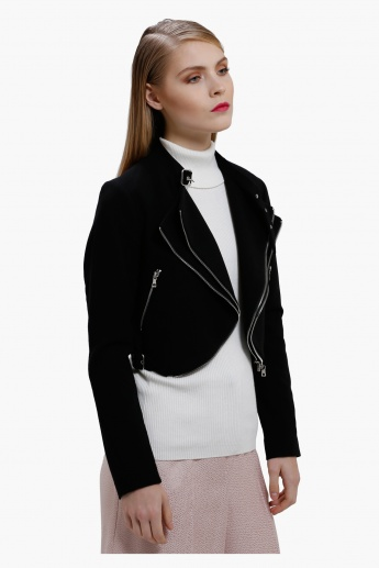 Elle Crop Jacket with Zip Detail and Long Sleeves