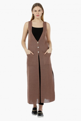 Elle Sleeveless Long Cardigan