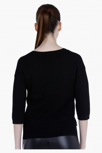 Elle Textured Sweater with High Low Hem