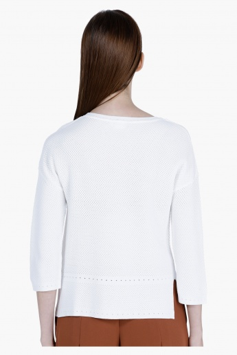 Elle Textured Round Neck Sweater