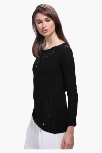 Elle Embellished Sweater with Round Neck and Long Sleeves
