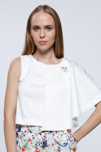 Elle Embellished Crop Top with Round Neck