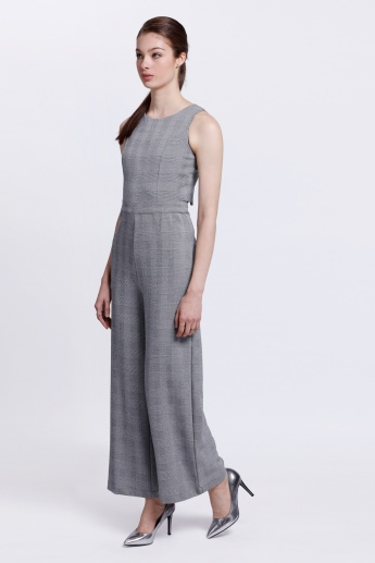 Textured Sleeveless Jumpsuit with Strap Back