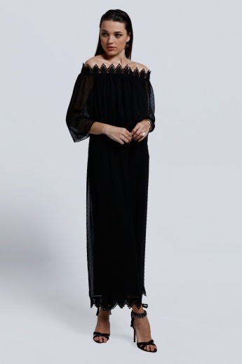 Elle Off Shoulder Maxi Dress with Lace Detail