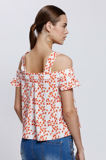 Elle Printed Top with Cold Shoulders
