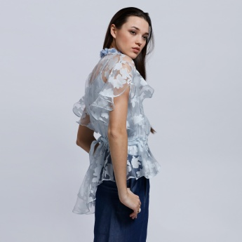 Elle Organza Top with Complete Button Placket and High Low Hem