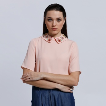 Elle Short Sleeves Embellished Top