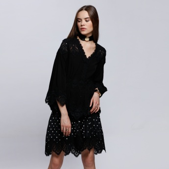 Elle V-Neck Dress with 3/4 Sleeves and Lace Detail