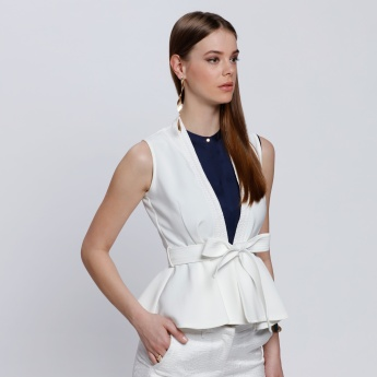 Elle Sleeveless Jacket with Tie Up