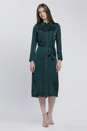 Elle Shirt Dress with Long Sleeves and Concealed Placket