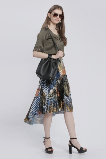 Elle Printed Skirt with Asymmetric Hem