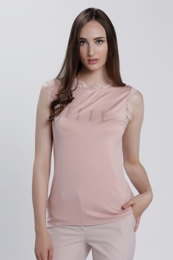 Elle Sleeveless Top with Lace Detail