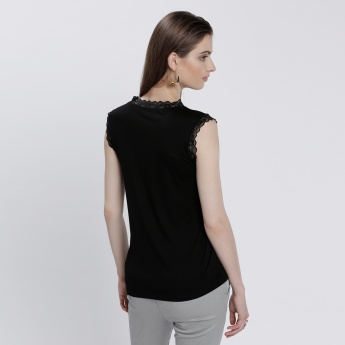 Lace Sleeveless Top with Round Neck