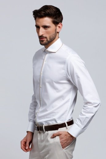 L'HOMME Long Sleeves Shirt with Contrast Piping