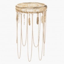 Feather and Chain Embellished Bangle