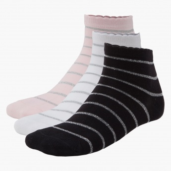 Striped Ankle-length Socks - Set of 3