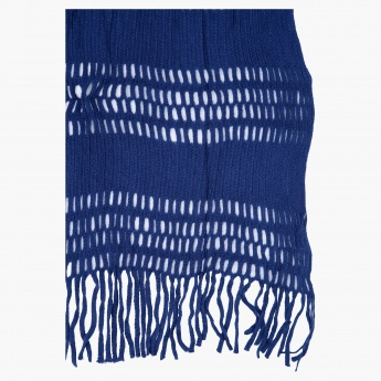 Textured Scarf with Fringed Hems