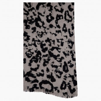 Animal Texture Scarf with Fringed Hems