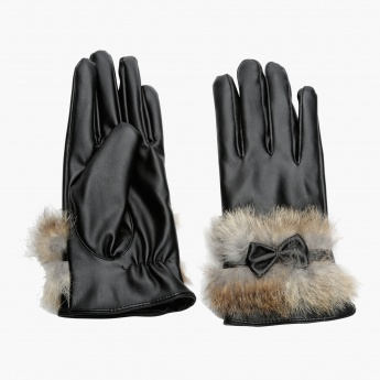 Gloves with Bow Appliques and Plush Cuffs