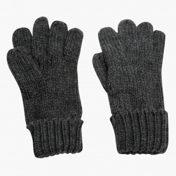 Knitted Gloves with Ribbed Cuffs