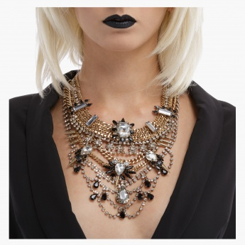 Crystal Studded Statement Necklace