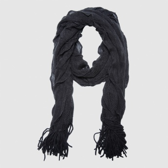 Ruffle Scarf with Fringes