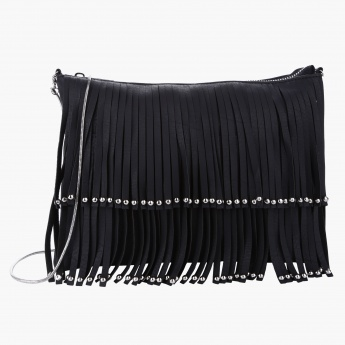 Fringed Crossbody bag with Zip Detail
