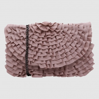 Frilled Hand Bag with Long Strap