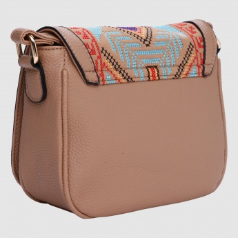 Embroidered Crossbody Bag with Zip Closure