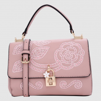 Embroidered Hand Bag with Press Lock Closure