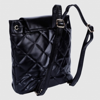 Quilted Backpack with Flap Closure