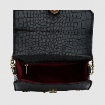 Textured Hand Bag with Metallic Detail and Snap Closure