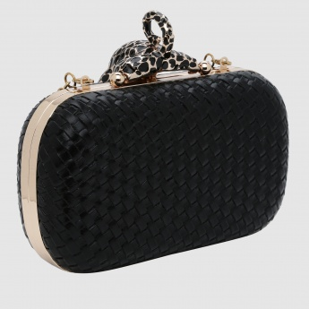 Textured Clutch with Metallic Strap