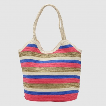 Striped Tote Bag with Dual Handles