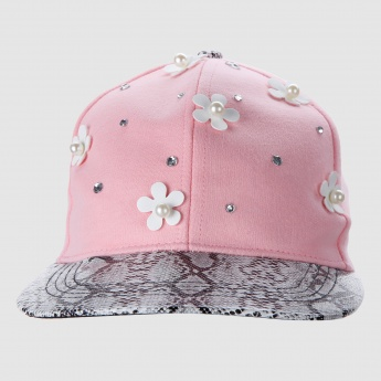 Embellished Cap with Snap Closure