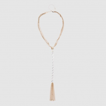 Studded Tassel Necklace with Lobster Clasp