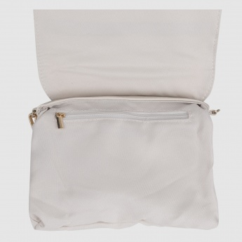Satchel Bag with Flap and Metallic Detail