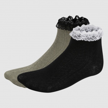 Crew Length Socks with Lace Detail - Set of 2