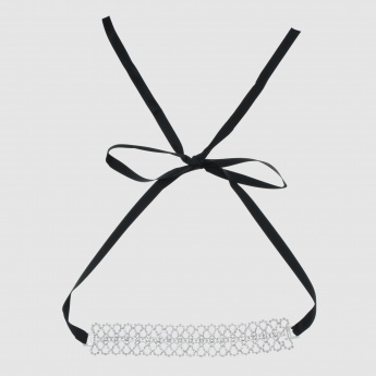 Studded Choker Necklace with Tie Back