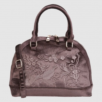 Embroidered Handbag with Zip Closure