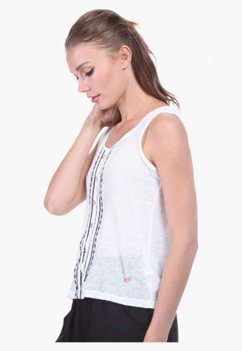 Sleeveless Embroidered Scoop Neck Blouse