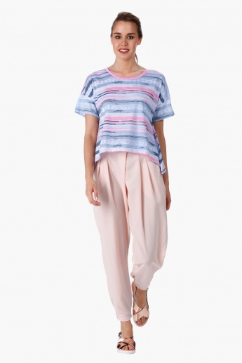Lee Cooper Printed A-line Crop Top with Short Sleeves