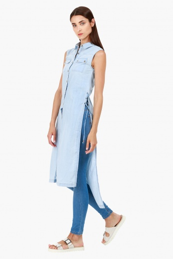 Lee Cooper Sleeveless Casual Denim Tunic with High Slits in Regular Fit