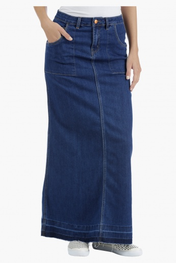 Lee Cooper Denim A-Line Maxi Skirt with Raw Hem in Regular Fit