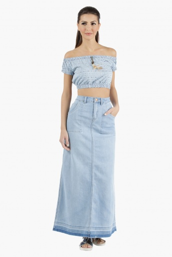 Lee Cooper Denim Off-Shoulder Crop Top with Half Sleeves in Regular Fit