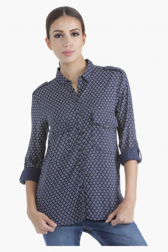 Lee Cooper Printed Boyfriend Shirt in Regular Fit