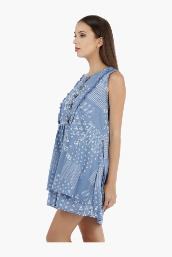 Lee Cooper Printed Cotton Layered Dress