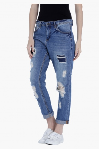Lee Cooper Distressed Boyfriend Jeans with Medium Rise in Straight ...
