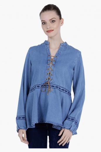 Lee Cooper Denim Peasant Top with Tie Ups